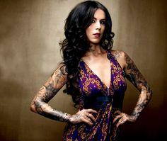 Kat Von D, tattoos, black hair