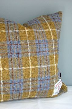 The very popular Harris Tweed in a muted mustard and blue Tartan with subtle white and rust overcheck is available in various sizes – I can also make custom sizes if required – please contact me to discuss. Matching lampshades are available.