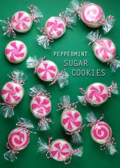 Peppermint Sugar Cookies. Beyond cute.