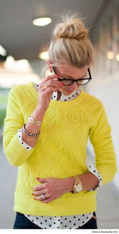 Yellow with polka dots and glasses
