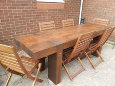 Garden table from 2.4m long new railway sleepers