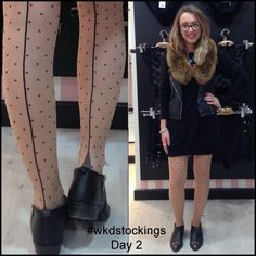 12 Days of Stockings Giveaway!  Day 2: Clare wears Retro Seamed Dot Tights.   All you need to do to enter is retweet, share, regram or pin our daily stocking images using #wkdstockings    Each day we're posting a stocking image and randomly selecting a person every day to win the stockings featured. At the end we'll be pulling one name out of a hat to win all 12 pairs!  Winners announced on What Katie Did Blog.