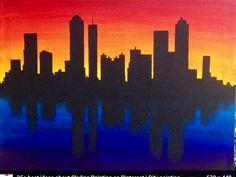 Skyline Silhouette at Sunset Acrylic Canvas Painting by ByMEA Acrylic Canvas, Canvas Art, Diy Painting, Painting & Drawing, Skyline Painting, Wine And Canvas, Art Plastique, Painting Inspiration, Art Lessons