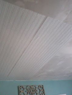 Beadboard Ceiling On Top Of Drywall Uses Wall Paper From Lowes
