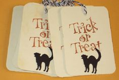 10 Gift Tags Trick or Treat Halloween Tags Black by Judyscrafts