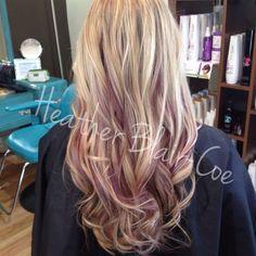 Purple peekaboos with blonde highlights: