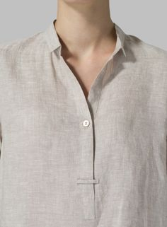 MISSY Clothing - Linen Shirt Collar Blouse