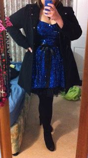 Black and Blue, Plus size sequin dress. Evening outfit. OOTD, OOTW, Sparkle Til Midnight.