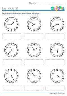 Hojas de trabajo para descargar con actividades del reloj. Ejercicios sencillos para aprender las horas. Reloj de agujas. Hojas de trabajo para descargar. Spanish Teaching Resources, Spanish Activities, Spanish Lessons, Teaching English, Math Activities, Learn Spanish, Math For Kids, Lessons For Kids, Telling Time In Spanish