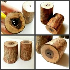 Salt and pepper containers made of wood log to look classy on your dining table