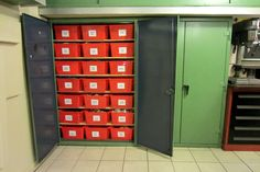 This Strong Hold cabinet was converted to hold 42 Ikea storage bins.