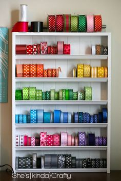Ribbon Storage DIY - only issue is that all my ribbon is different sizes!!!