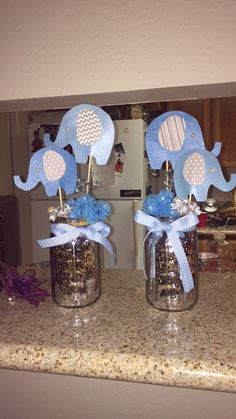 Elephant baby shower center piece