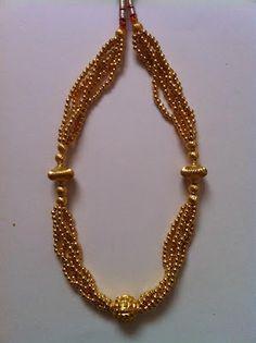 K T ARTS: Kolhapuri Thushi Gold Jewellery Design, Gold Jewelry, Beaded Jewelry, Jewelery, Beaded Necklace, Gold Necklace, Necklaces, Kerala Jewellery, India Jewelry