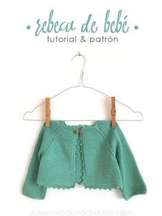 Rebeca de #bebé de #punto. Baby knitted cardigan. Free pattern.