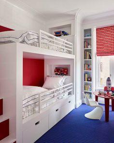 In Good Taste: Mark Cunningham Interiors Bunk Rooms, Bunk Beds, Boys Room Decor, Kids Bedroom, Foyer Flooring, Creative Kids Rooms, Kitchen Family Rooms, Central Park, Shelving