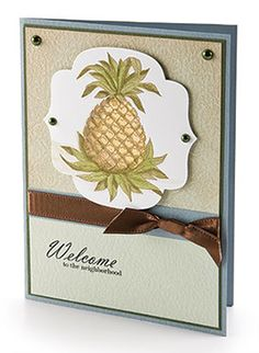 Pineapple Welcome, part of CardMaker's FREE Card Pattern of the Month. Crafts For Seniors, Senior Crafts, Card Patterns, Free Prints, Homemade Cards, Note Cards, Gift Tags, Cardmaking, Free Printables