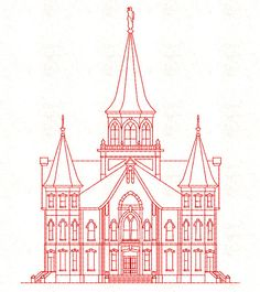 Provo City Center LDS Temple, Redwork Embroidery Design, digital instant download file.