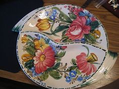 DIVIDED FLORAL DISH-HAND PAINTED-ITALY $9.99 - ebay
