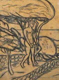 joaquim sunyer miró 1874-1956) dibujo a carbon