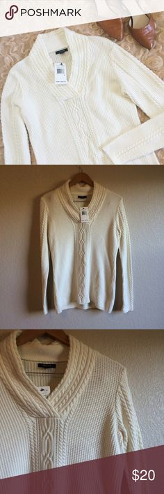 Nautica • Sweater This pretty, off-white sweater is perfect for layering. NWT. Nautica Sweaters