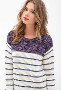 Striped & Marled Sweater #F21StatementPiece