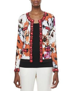Printed Cardigan with Beading & Scoop-Neck Shell, Women's  by Michael Simon at Neiman Marcus.