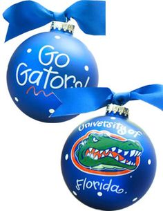 Get ready for the holidays with these University of Florida Gators Glass Ball Ornament