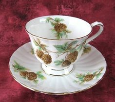 Pinecones Cup And Saucer English Bone China Clarence 1950s