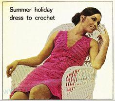 Crochet Dress Crochet Pattern Dress Pattern Sizes 34 and 36 Summer Holiday Dresses, Crochet Summer Dresses, Mod Dress, Retro Dress, Crochet Woman, Knit Crochet, Free Crochet, Vintage Dress Patterns, Beautiful Crochet