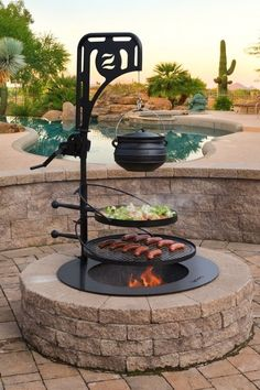 Diy Fire Pit, Fire Pit Backyard, Fire Pit Next To Pool, Fire Pit Landscaping, Landscaping Ideas, Round Fire Pit, Cement Patio, Flagstone Patio, Design Jardin