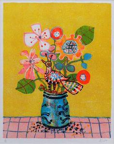 ピンクのテーブルの花束と鳥 - 銀座の絵画販売・買取の画廊 - 翠波画廊
