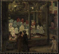 Isaac Israels | Shop Window, Isaac Israels, 1894 | Een man en een vrouw staan voor de verlichte etalage van een winkel en bekijken de uitgestalde kinderkleding. Rechts een meisje met een hoed.