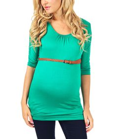 Look at this PinkBlush Kelly Green Belted Maternity Three-Quarter Sleeve Top on #zulily today!