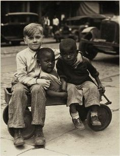 Three Children and Wagon c. 1930s #history             WOW the first sweet picture I have seen with Black and White children.