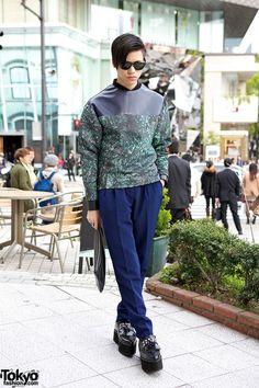 [Harajuku Guy Wearing Christian Dada & American Apparel w/ Clutch & Creepers] Brands: American Apparel, Christian Dada Asian Street Style, Tokyo Street Style, Japanese Street Fashion, Asian Style, Street Styles, Tokyo Style, Asian Men Fashion, Seoul Fashion, Tokyo Fashion