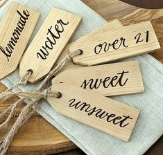 Southern Living Set Of 6 Beverage Tags: wooden tags with calligraphy - lemonade, water, over sweet and unsweet. Dimensions: Each Tag: 1 X Construction: Made of wood with metal grommets and jute rope. Dude Perfect, Drink Tags, Drink Labels, Drink Menu, Wood Crafts, Diy Crafts, Wood Tags, Stewart, Party Entertainment