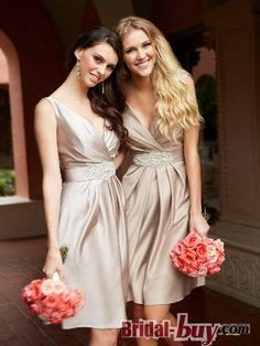Buy Custom Made High Quality Modern Pricness V-neck Short Champagne Satin Bridesmaid Dress On Sale WPBD-9463 at wholesale cheap prices from Bridal-Buy.com