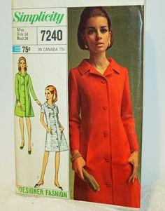 Vintage 1960s Sewing Pattern Simplicity 7240 Misses'
