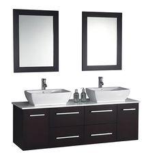 "Nepal 63"" Double Sink Bathroom Vanity Set with Mirror"