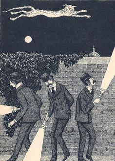 """Edward Gorey: illustration for """"Macavity The Mystery Cat,"""" from T.S. Eliot's """"Old Possum's Book of Practical Cats"""""""