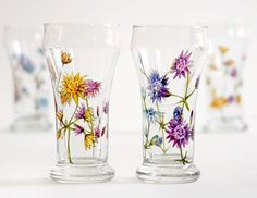 Set+of+4+Mini+Beer+Glasses++Wild+Flowers+Bouquet+by+yevgenia,+$120.00
