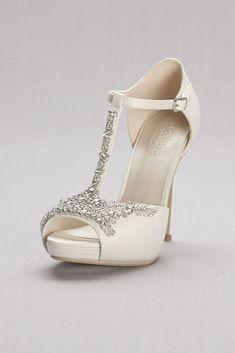 5e239cb3dca0 Crystal T-Strap Satin Peep Toe Platform Heels Women s Bridal Heels
