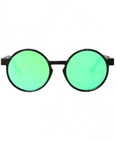 Round Mirror Sunglasses with Black Frame