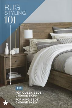 There's nothing like a statement rug for under your bed. It puts a little luxury at your feet and ties the room together. Be sure to leave ample space around your bed frame. Choose a 8x10 or larger for queen beds and 9x12 or larger for king beds. Find area rugs in every size at macys.com.