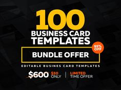 95% OFF on this Super Business Card Bundle. Limited Time Offer This bundle contains of 100 high quality business card templates. You can use this creative