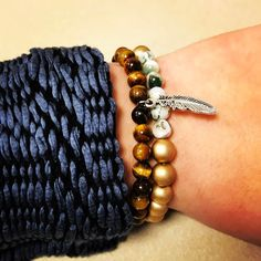 Debuted my new jacket at work this week and these bracelets were the perfect addition! Do you agree?  Grab Yours Now  www.newreignco.com  #newreignco #beadedbracelets #bracelets #Tigereye #Luxury #getyourstoday #armcandy #beads #style #fashion #womensfashion #designer #bold #inspired #accessories #jewelry #beadedjewelry #handmade #madeintheusa #handcrafted #confidence #womenstyle #jacket