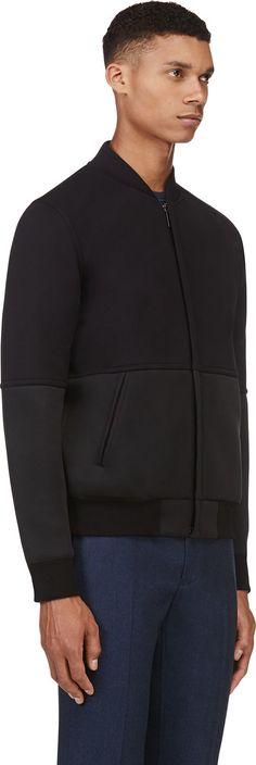 Calvin Klein Collection: Black Neoprene Panel Bomber Jacket | SSENSE