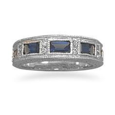 Dark Blue and Clear CZ Ring