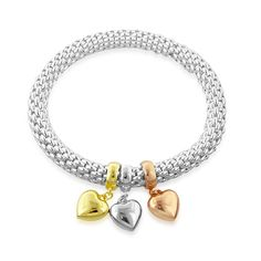 Lambada Stretch Bracelet with Multicolor Gold Plated Puffed Heart Charms in Sterling Silver